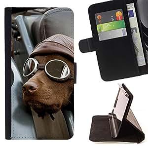 Momo Phone Case / Flip Funda de Cuero Case Cover - Perro Piloto Retriever Conductor chocolate - LG G4c Curve H522Y (G4 MINI), NOT FOR LG G4