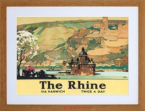 TRAVEL RIVER CASTLE LANDSCAPE RHINE VINTAGE AD FRAMED PRINT F12X6897 (Framed River Rhine)