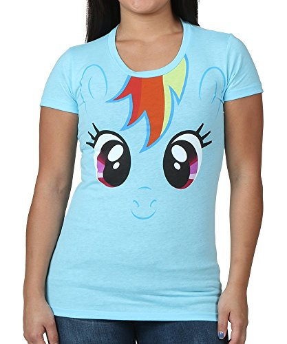 My Little Pony Rainbow Dash Big Face Neon Sky Blue Juniors T-shirt (Juniors (Adult Rainbow Dash)
