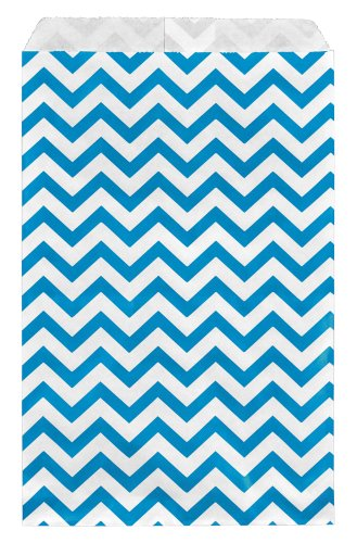 200 pcs Blue Chevron Paper Gift Bags Shopping Sales Tote Bags 6