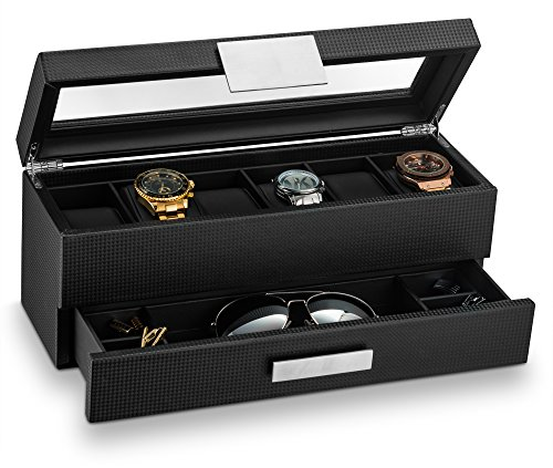 Glenor Co Watch Box with Valet Drawer for Men - 6 Slot Luxury Watch Case Display Organizer, Carbon Fiber Design -Metal Buckle for Mens Jewelry Watches, Men's Storage Holder Boxes has a Large Glass Top ()