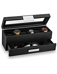 Watch Box with Valet Drawer for Men - 6 Slot Luxury Watch Case Display Organizer, Carbon Fiber Design -Metal Buckle for Mens Jewelry Watches, Men's Storage Holder Boxes has a Large Glass Top