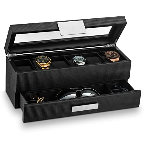 Glenor Co Watch Box with Valet Drawer for Men - 6 Slot Luxury Watch Case Display Organizer, Carbon Fiber Design -Metal Buckle for Mens Jewelry Watches, Mens Storage Holder Boxes has a Large Glass Top