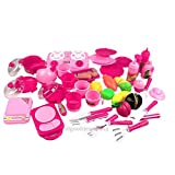 XENO-40Pcs Portable Pink Children Kids Kitchen Food Cooking Girl Toy Cooker Play Set