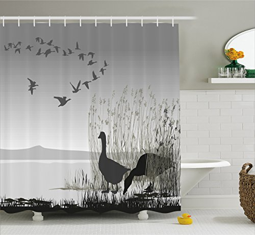 Ambesonne Wildlife Decor Shower Curtain by, Silhouette of a Geese by Frozen Lake Flying Autumn Birds in the Sky Scene, Fabric Bathroom Decor Set with Hooks, 70 Inches, Blue Black