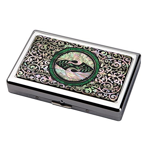 - Mother of Pearl Double Crane Bird Extra Long 100S Super Slim King Size 16 Cigarette Engraved Metal Steel RFID Blocking Protection Credit Business Card US Bill Currency Cash Holder Case Storage Box