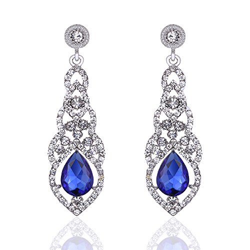 Flower Drop Crystal Earrings (mecresh Blue Crystal Unique Design Flower Teardrop Dangle Earrings for Bridemaid or Wedding)