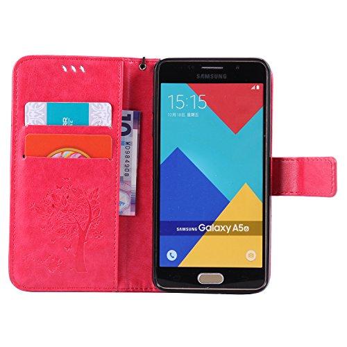 Funda Samsung Galaxy A5, SsHhUu Funda PU Piel Genuino [Ranuras para Tarjetas] [Cierre Magnetico] con Lápiz óptico + Acollador para Samsung Galaxy A5 A500F A500FU (5.0) Lavanda Rose