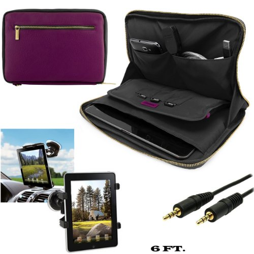 Irista Carrying Leather Sleeve (Purple, Black) For Samsung Galaxy Note 10.1 (2014 Edition) Android Tablet + Windshield Mount w/ Auxiliary -  VangoddyCase, 95321
