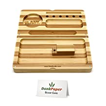 LIMITED EDITION - Striped Raw Bamboo Backflip Portable Folding Rolling Tray with Dank Paper Scoop Card (