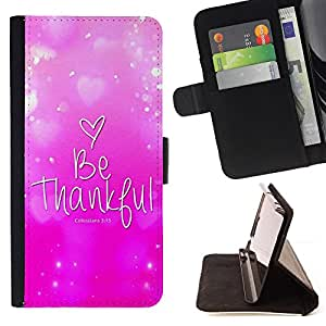 BullDog Case - FOR/Samsung Galaxy S5 V SM-G900 / - / COLOSSIANS 3:15 BE THANKFUL /- Monedero de cuero de la PU Llevar cubierta de la caja con el ID Credit Card Slots Flip funda de cuer