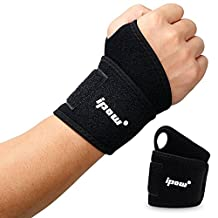 [1 pair] Ipow Adjustable Wrist Wraps Brace Support Protector Pain Relief for Fitness Exercise Weightlifting