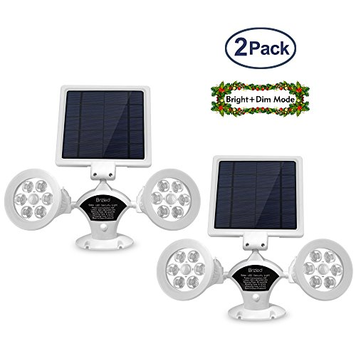 Brizled Upgraded Dual Head Solar Lights Motion Sensor Outdoor, White Solar Spotlights 12 LED Security Light 360 Degree Rotatable Flood Lights for Garage, Driveway and Wall, Warm White, 2 Pack by Brizled