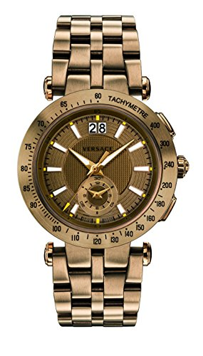 Versace Men's 'V-Race' Swiss Quartz Stainless Steel Casual Watch, Color:Bronze-Toned (Model: VAH060016)