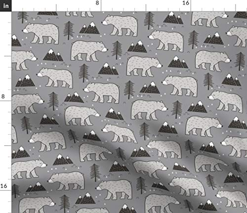 Spoonflower Bear Fabric - Woodland Mountains Trees Bears Forest Grizzly Bear Grey Bear by Caja Design Printed on Lightweight Cotton Twill Fabric by The Yard