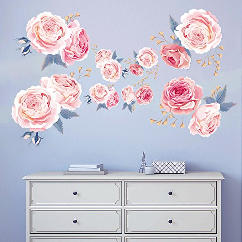 decalmile Pink Rose Wall Stickers Removable Flower Wall Decals Bedroom Living Room Wall Art Decor (Vinyl Flowers)