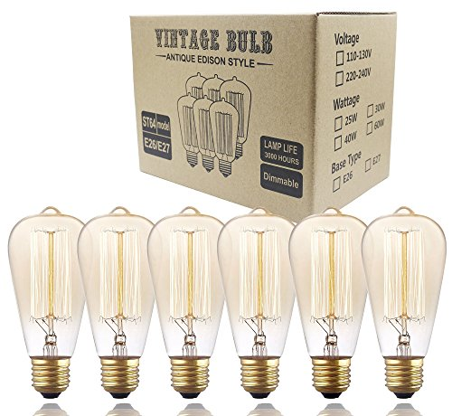 Edison Bulbs, Rolay 40w Dimmable Industrial Pendant Filament Light Bulbs with Vintage Antique Style Design for Pendant Lighting, Wall Sconces, Ceiling Fan and Chandeliers - 160 Lumens – 6 - Clear Incandescent Pendant