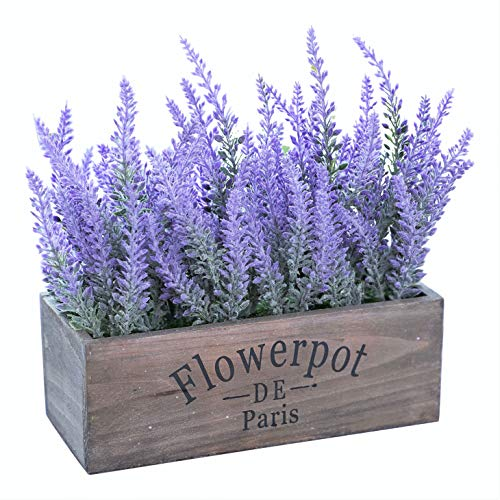 Butterfly Craze Artificial Lavender Plant with Silk Flowers for Wedding Decor and Table Centerpieces (Lavender w/Rectangular Pot) (Dining Table Centerpiece Flower)