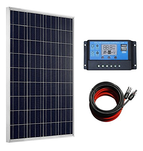 ECO-WORTHY 100 Watts Solar Panel + 20A LCD Display PWM Charge Controller + 30 Feet Solar Cable Adaptor for Off-Grid RV Boat Kit