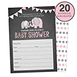 Baby : Elephant Baby Shower Invitations for a Girl (Pink) Fill In Style 20 Count