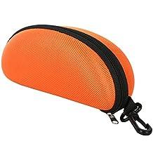 TRIXES Protective Moulded Sunglasses Case Orange Zipped