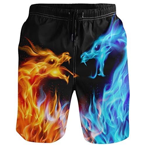 (visesunny Fire Dragon Print Men Beach Shorts Summer Swim Trunks Sports Swimming Bathing Suits with Mesh Lining)