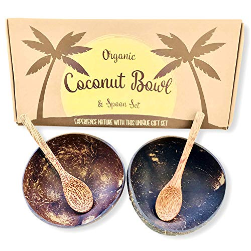Shell Half Coconut (Coconut Bowls and Coconut Spoons Gift Set (Set of 2 Coco Bowls + 2 Coco Spoons) - 100% Natural - Vegan - Organic - Hand Made - Eco Friendly - Made from Reclaimed Coconut Shells - Artisan Craft)