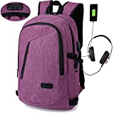 YOUPECK Laptop Backpack, Anti-Theft Laptop Backpack with USB Charging Port, Lockable Travel Bag for Men Women, Lightweight Business Casual College School Bookbag for Computer Under 15.6 inch - Purple