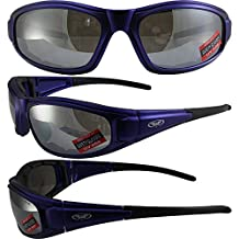 Global Vision Zilla Plus Padded Motorcycle Safety Sunglasses Matte Blue Frames Flash Mirror Lenses ANSI Z87.1