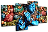 Bold Bloc Design - Lord Krishna Hindu Religion 160x90cm MULTI Canvas Art Print Box Framed Picture Wall Hanging - Hand Made In The UK - Framed And Ready To Hang