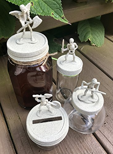 Stone Painted Skeleton Army Mason Jar - Halloween -
