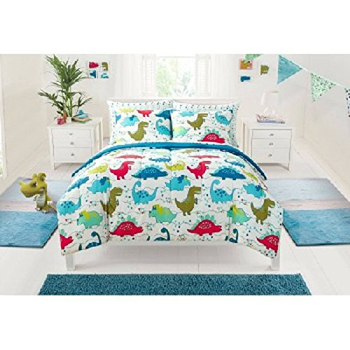7 Piece Multi Kids Dinosaurs Themed Comforter Full Set, All Over Colorful Cute Stegosaurus Pattern, Gorgeous Jurassic Animal Print, Pretty Dino Paw Reversible Bedding, Bright Colors Blue Green Orange by D&H