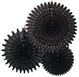 Hanging Honeycomb Tissue Fan, Black, Set of 3 (13 inch, 18 inch, 21 inch)
