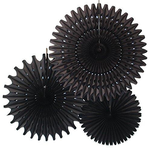 Set of 3 Honeycomb Tissue Fans, Black (13-21 ()