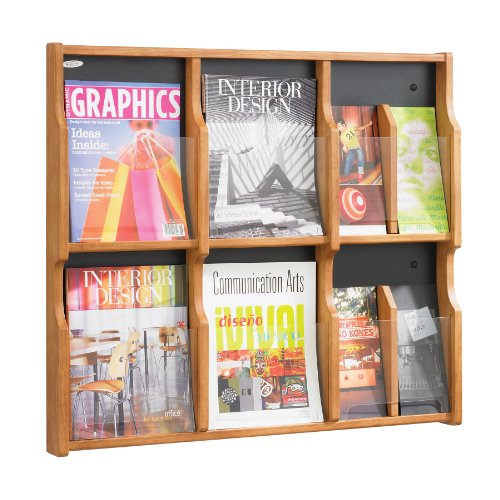 Magazine 6 Pamphlet - Safco Products 5703MH Expose Literature Display, 6 Magazine 12 Pamphlet, Mahogany/Black