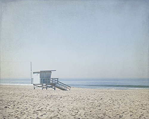 Blue Lifeguard Tower 8x8 to 40x60 inches on Photographic or Watercolor - Tower Water Place