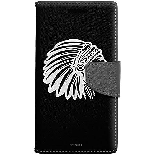 Samsung Galaxy S7 Edge Wallet Case - Silhouette Indian Chief Head on Black Case Sales