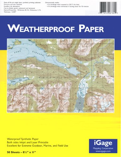 iGage Weatherproof Paper 8.5''x11'' - 50 Sheets by iGage Mapping Corporation