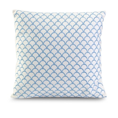 """17"""" Decorative Sky Blue Scalloped Embroidered Accent Pillow"""