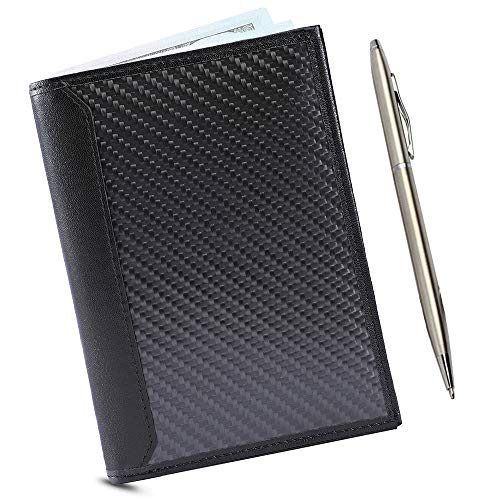 Carbon Leather Passport Holder RFID Blocking Technology Wallet - Slim,...