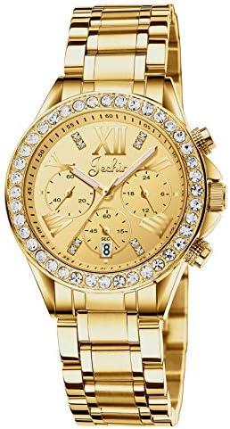 Jechin Women & # 39; s Luxury Diamond Stainless Steel Multifunction Runway Glitz Bracelet Watch