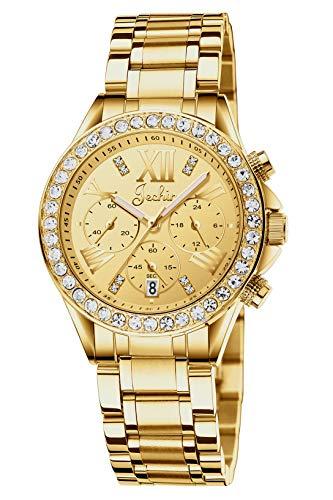 Jechin Fashion Women's Gold Stainless Steel Multifunction Glitz Quartz Watch