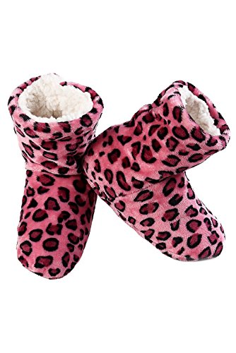 Iconoflash Kvinnor Tryckt Bootie Toffel Med Faux Shearling Foder Hot Pink Leopard