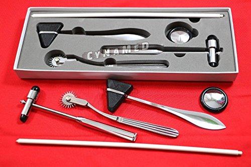 NEW Premium Neurological DIAGNOSTIC 4 pcs SET Reflex Hammer set Pinwheel, Taylor hammer Queen Square, & Buck hammer-BLack ( CYNAMED BRAND )