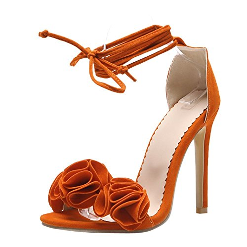 Carolbar Women's Elegant Charm Stiletto High Heel Dress Ankle Wrap Sandals Orange rM5sOhMRm