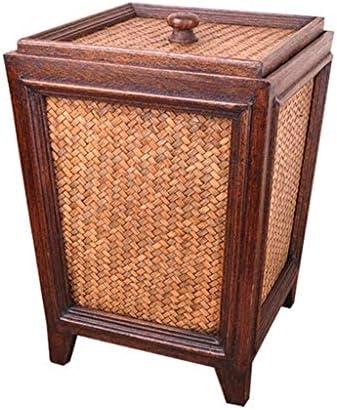 ゴミ袋 ゴミ箱用アクセサリ ふたの居間の台所世帯のゴミ箱が付いている大容量の型の創造的な藤のゴミ箱 キッチンゴミ箱