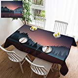 HOOMORE Simple Color Cotton Linen Tablecloth,Washable, Lakeview and Pine Wood at Dusk Decorating Restaurant - Kitchen School Coffee Shop Rectangular 120×60in