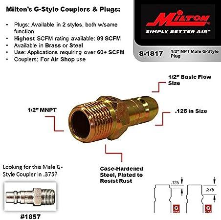 """Free S/&H Fast Milton 1817 1//2/"""" MNPT /""""G/"""" Style HI-FLOW Plug 1 // 5"""