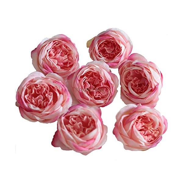 FANFLONA Silk Flowers in Bulk Wholesale 60 Flower Heads Silk Tea Rose Artificial Peony Flower Heads (Dark Pink)