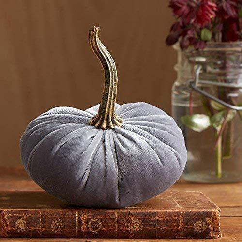 Small Velvet Pumpkin Gray, Handmade Home Decor, Holiday Mantle Decor, Fall Halloween Thanksgiving Centerpiece, Rustic Fall Wedding Centerpiece Decor